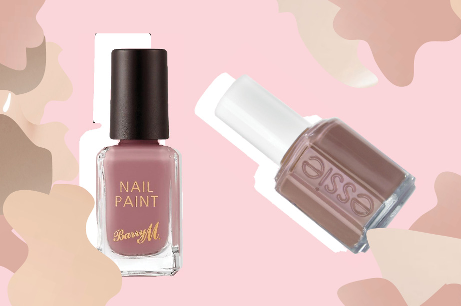 Barry M nail polish in Bespoke and Essie nail polish in Clothing Optional